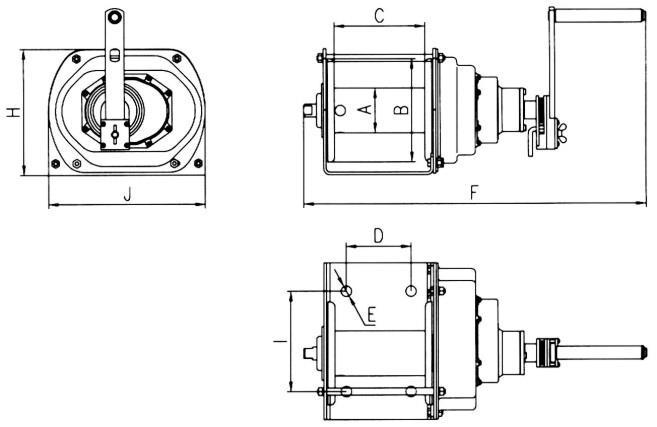 Schemat, wymiary wciągarki ręcznej JC-E2