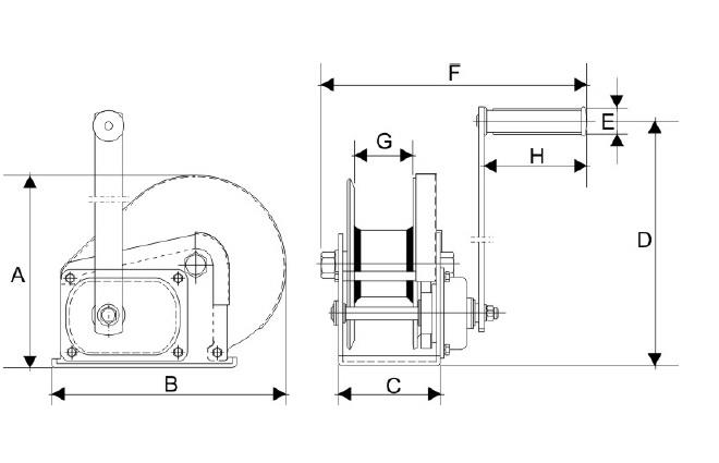 Schemat, wymiary wciągarki ręcznej korbowej JC-S