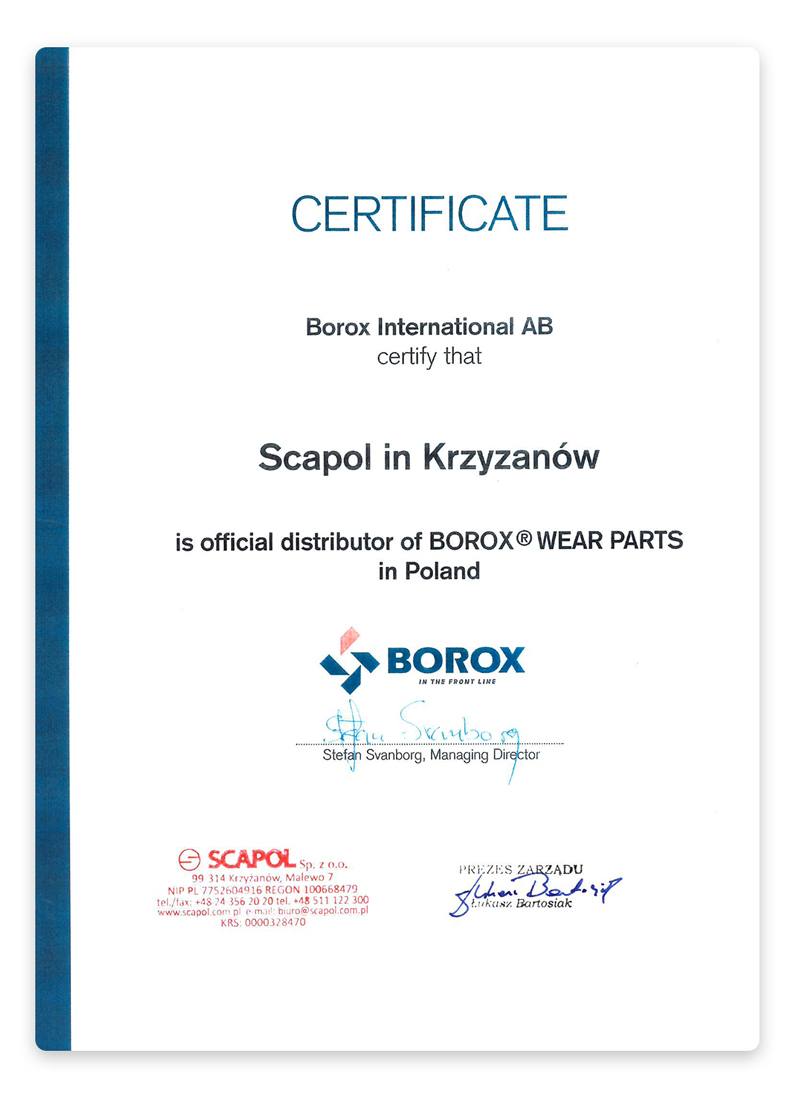 Certyfikat BOROX